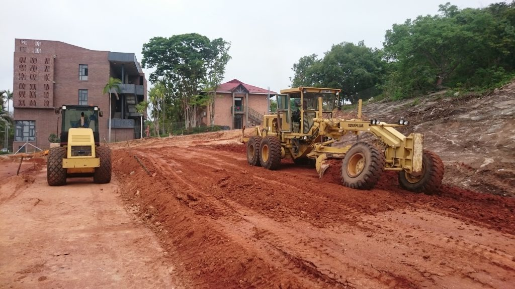 The roller are used to compact the ground and the grader for leveling of the platform